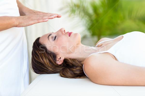 Vrouw reiki behandeling spa huid Stockfoto © wavebreak_media