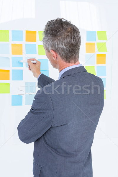 Puzzled businessman looking post its on the wall Stock photo © wavebreak_media
