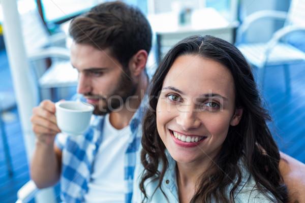 Cute paar koffie samen cafe gelukkig Stockfoto © wavebreak_media