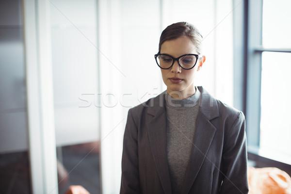 Foto stock: Conselheiro · óculos · em · pé · escritório · negócio