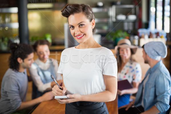 портрет официантка Постоянный ресторан Дать Сток-фото © wavebreak_media