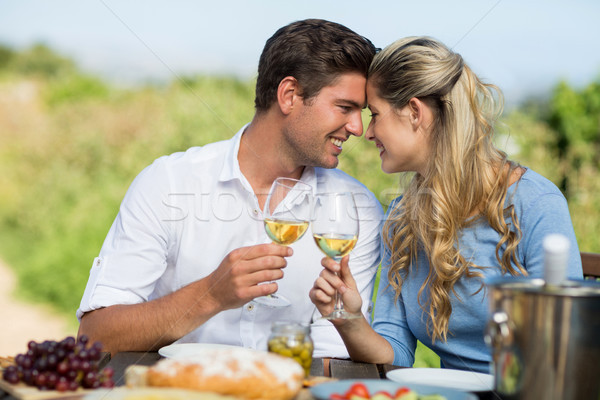 Stock photo: Smiling couple toasting wineglasses at table