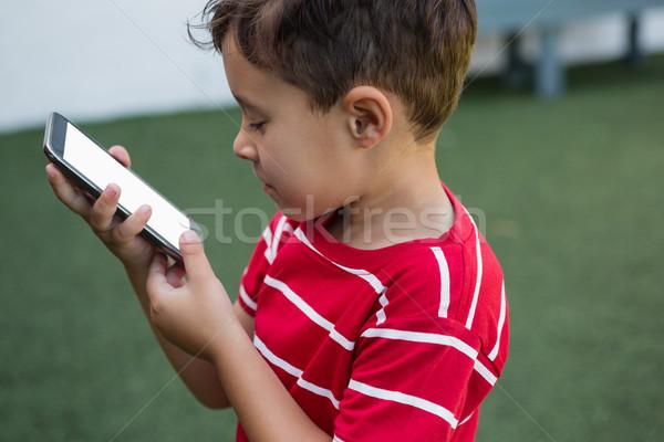 Oldalnézet fiú okostelefon áll füves mező Stock fotó © wavebreak_media