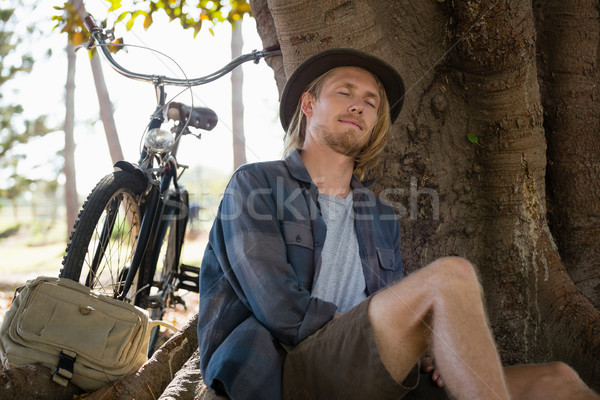Uomo riposo albero parco giovane bicicletta Foto d'archivio © wavebreak_media