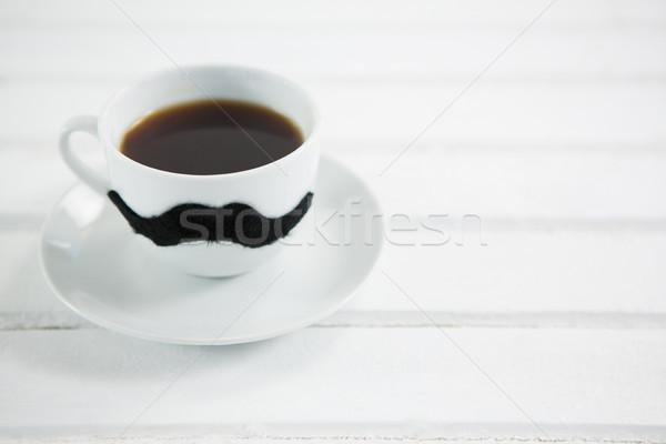 Taza de café bigote blanco mesa madera Foto stock © wavebreak_media