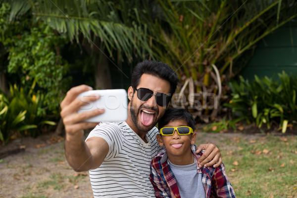 Vader zoon familie telefoon Stockfoto © wavebreak_media