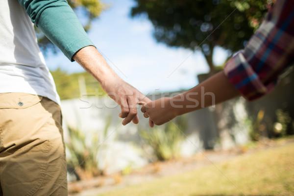 Afbeelding vader zoon holding handen permanente familie boom Stockfoto © wavebreak_media