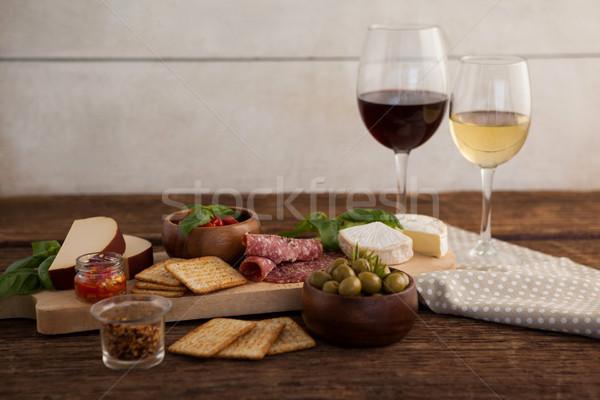 Hozzávaló bor asztal fal üveg sajt Stock fotó © wavebreak_media