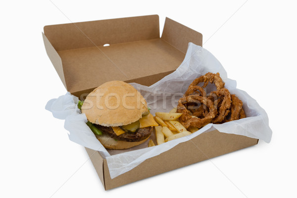 Stock foto: Hamburger · Zwiebel · Ring · weg