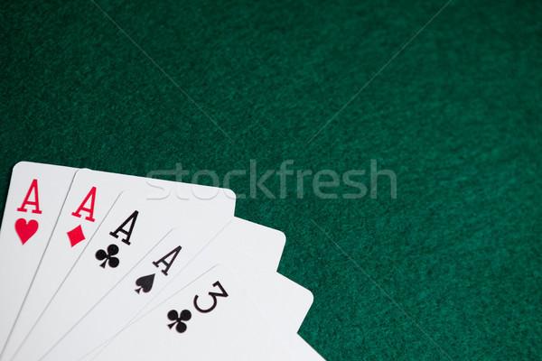 Iskambil kartları poker tablo kumarhane yeşil başarı Stok fotoğraf © wavebreak_media