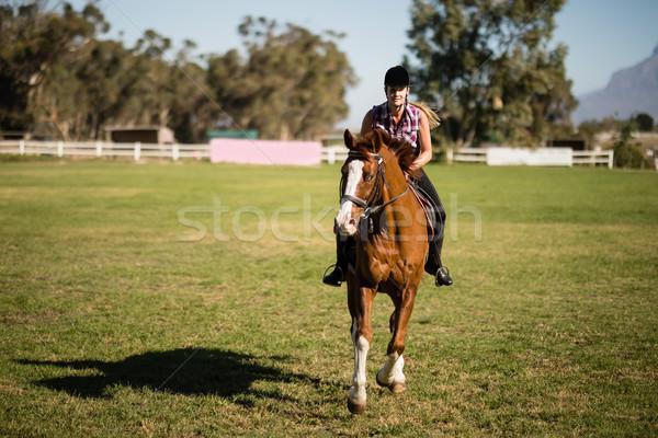 женщины жокей верховая езда области женщину Сток-фото © wavebreak_media