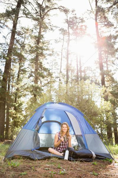 Güzel gülen oturma çadır Stok fotoğraf © wavebreak_media