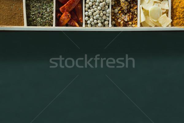 Különböző fűszer asztal kilátás főzés konténer Stock fotó © wavebreak_media