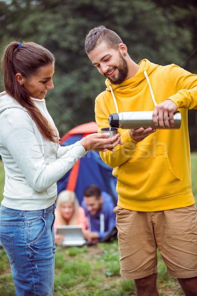 Boldog barátok kempingezés utazás vidék kávé Stock fotó © wavebreak_media