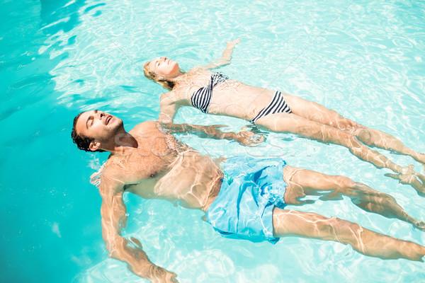мирный пару бассейна женщину Сток-фото © wavebreak_media