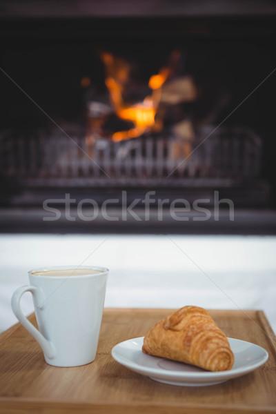 Ver café croissant tabela sala de estar comida Foto stock © wavebreak_media