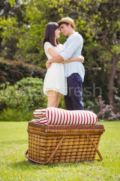 Picknickmand tuin paar knuffelen gelukkig ontspannen Stockfoto © wavebreak_media