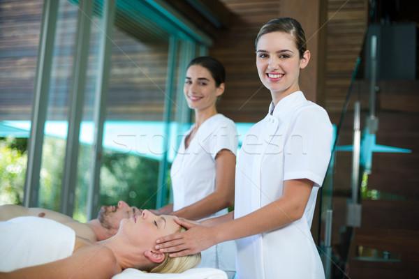 Kobieta głowie masażu masażysta spa szczęśliwy Zdjęcia stock © wavebreak_media