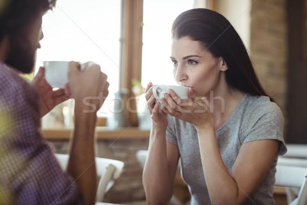 пару Кубок кофе хлебобулочные магазин женщину Сток-фото © wavebreak_media