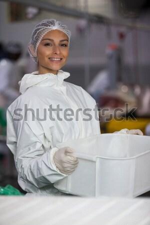 Stockfoto: Vrouwelijke · slager · vlees · fabriek · portret · business