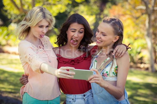Friends taking selfie with mobile phone Stock photo © wavebreak_media