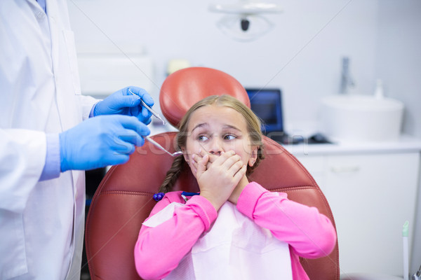 Young patient scared during a dental check-up Stock photo © wavebreak_media