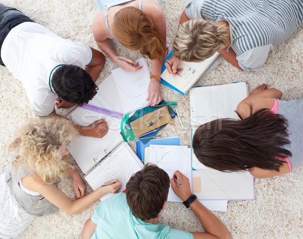 Magasról fotózva tinédzserek tanul együtt föld nő Stock fotó © wavebreak_media