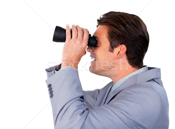 Happy businessman using binoculars  Stock photo © wavebreak_media