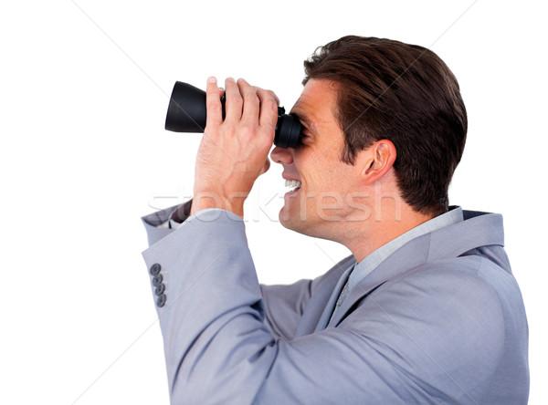 Gelukkig zakenman verrekijker witte man werk Stockfoto © wavebreak_media