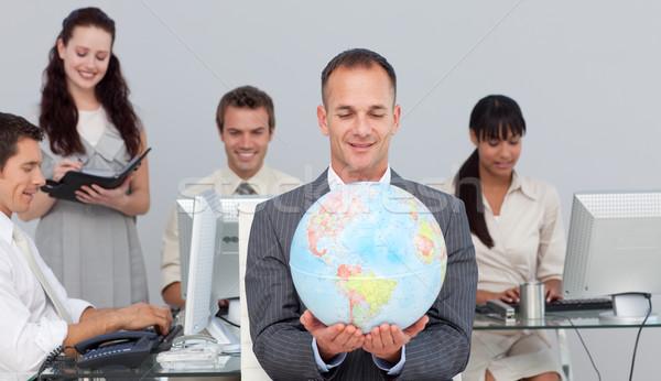 マネージャ 笑みを浮かべて グローバル コンピュータ オフィス 地図 ストックフォト © wavebreak_media