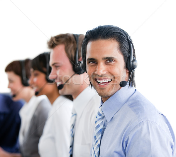 Enthusiastic business people working in a call center Stock photo © wavebreak_media