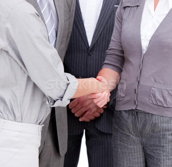 Közelkép pozitív üzleti csapat befejezés üzlet megbeszélés Stock fotó © wavebreak_media