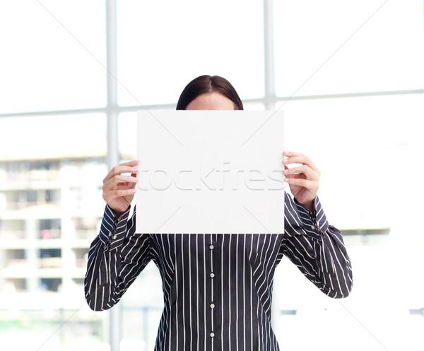 Femme souriante grand carte de visite visage tête Photo stock © wavebreak_media