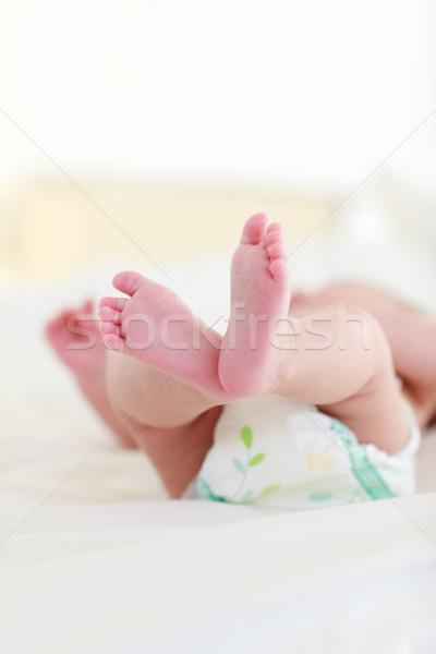 Baby bed pasgeboren glimlach gezicht Stockfoto © wavebreak_media