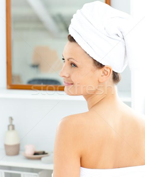 Stok fotoğraf: Pozitif · genç · kadın · havlu · krem · yüz · banyo