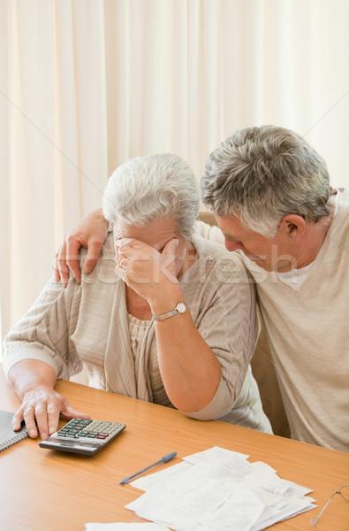 Szomorú érett pár házi számlák nő Stock fotó © wavebreak_media