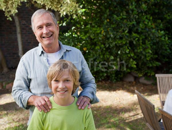 Fiú nagyapa néz kamera család boldog Stock fotó © wavebreak_media