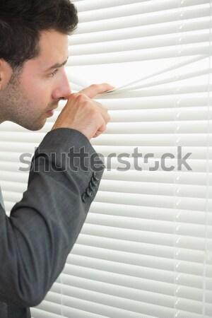 Barna hajú nő ki ablak iroda arc Stock fotó © wavebreak_media