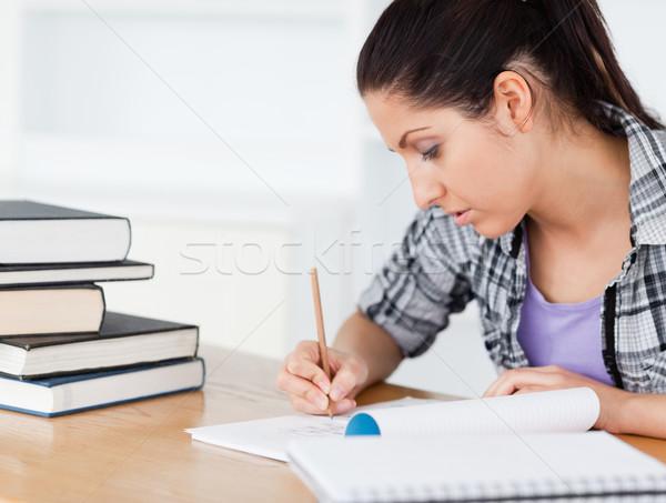 Jovem estudante lição de casa livros livro escolas Foto stock © wavebreak_media