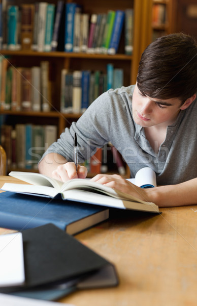 Portre yakışıklı öğrenci yazı deneme kütüphane Stok fotoğraf © wavebreak_media