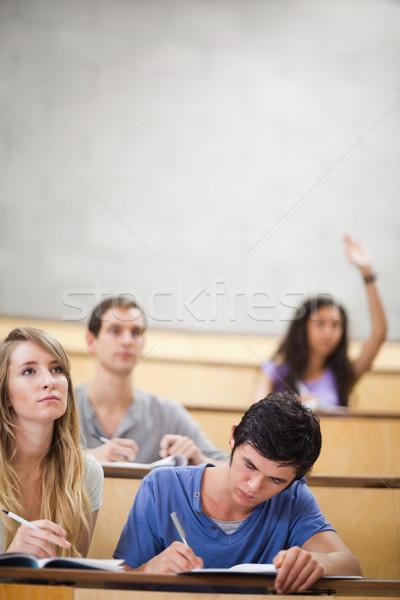 Portre Öğrenciler sınıf arkadaşı el amfitiyatro Stok fotoğraf © wavebreak_media
