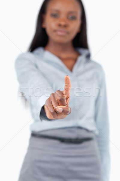 Portré fiatal üzletasszony megérint láthatatlan képernyő Stock fotó © wavebreak_media