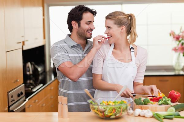 Para gotowania miłości szczęśliwy zdrowia kuchnia Zdjęcia stock © wavebreak_media