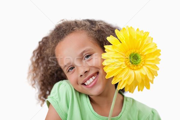 Photo stock: Petite · fille · fleur · blanche · visage · mère