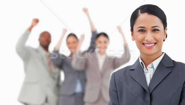 Souriant collègues derrière blanche Photo stock © wavebreak_media