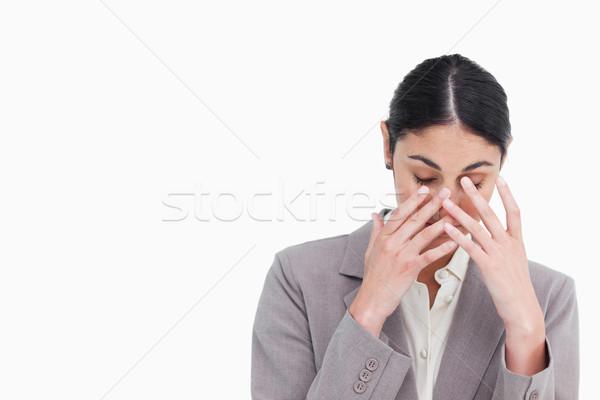疲れ 小さな 女性実業家 白 作業 悲しい ストックフォト © wavebreak_media