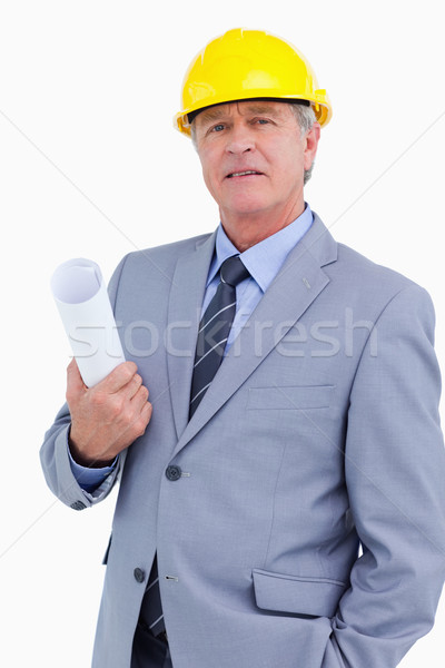 Olgun mimar kask planları beyaz iş Stok fotoğraf © wavebreak_media