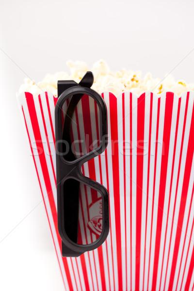 Сток-фото: 3d · очки · подвесной · полосатый · окна · полный · попкорн