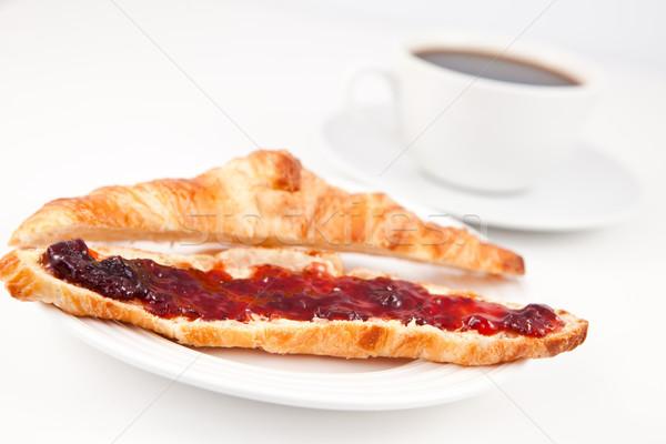 круассан чашку кофе таблице продовольствие кофе красный Сток-фото © wavebreak_media