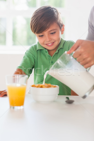 Father pouring milk in the cereal of his son Stock photo © wavebreak_media